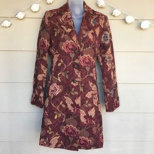 CAbi #749 Tapestry Brocade Floral Trench Coat 10
